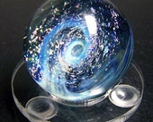 Blue Haze and Pink Spiral Galaxy Glass Marble - Collectable Handmade Space Glass Marble