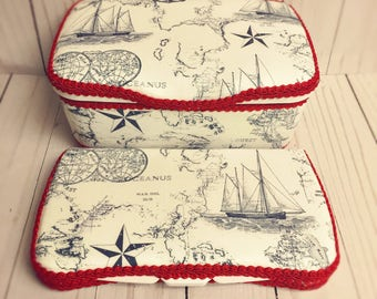 Nautical diaper wipe case set of 2 nautical wipes case vintage nautical theme nursery decor vintage baby decor vintage navy blue diaper case