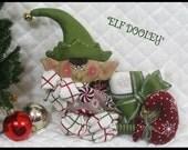 """Primitive Raggedy Folk Art Christmas~""""Elf Dooley""""~Sitting Elf w/present ornie~"""