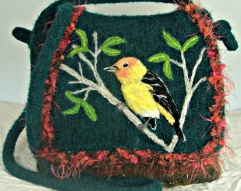 Felted Bird Purse, Felted Bird Handbag, Bird Art, Western Tanager Bird, Needle Felt Bird
