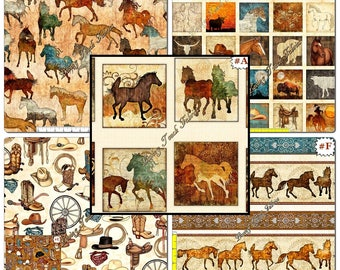 """Quilting Treasures & Dan Morris """"Unbridled"""" Western Horses Fabric Collection"""