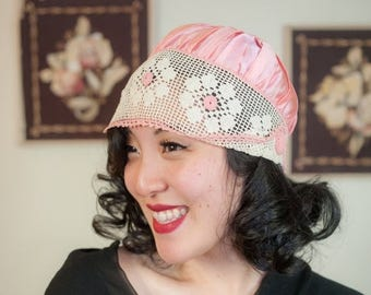 SALE - Vintage 1920s Hat - Pretty Glossy Pink Satin 20s Hat with Ivory Crochet Lace