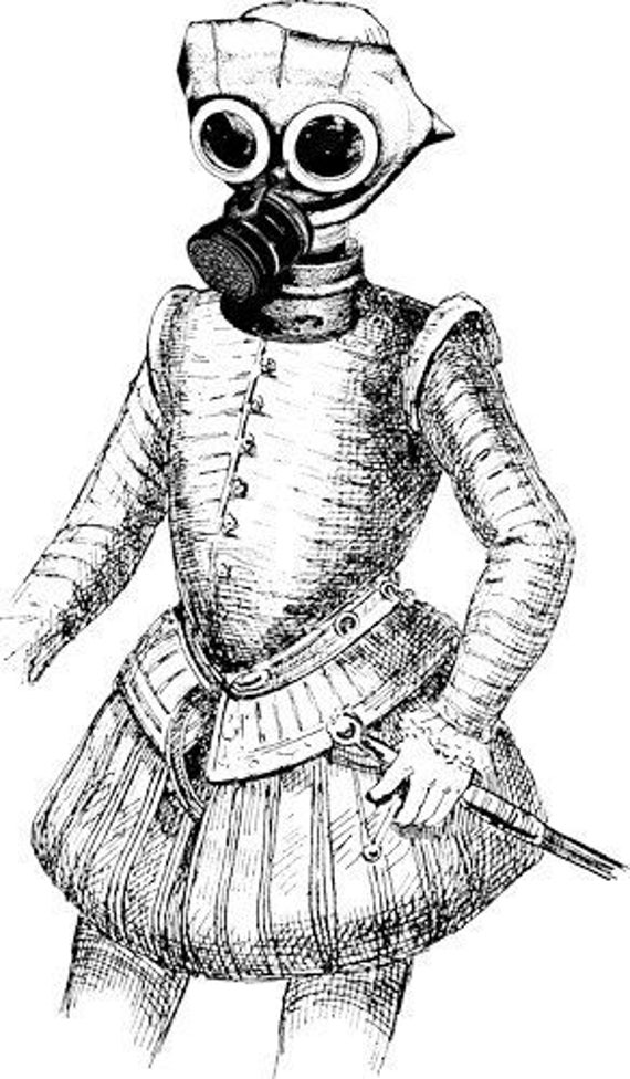 16th century man wearing gas mask steampunk art printables digital image clip art graphics