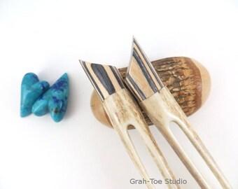 Antler Hair Forks Pair,Antler Hairforks,Grahtoe Studio, Hairfork,Hair fork Antler,Man Bun,Antler hairsticks,Antler fork,Mothers Day Gift
