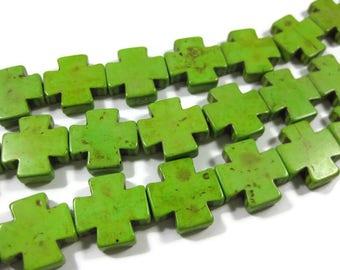 20mm x 20mm Green Howlite Cross Beads