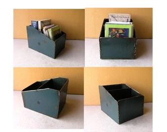 Metal Desk Organizer Remote Holder Desk Caddy Industrial Office Counter Display Menu Box Nightstand Decor Book Bin Letter Sorter Mens Gift