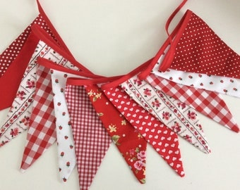 Sale Red bunting - Shabby Chic,  Fabric Garland, Wedding Bunting, last one in this fabric