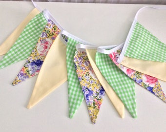 Spring bunting - 11 flags, in Lemon, yellow and green tones, Shabby Chic floral fabrics, Fabric Garland, Wedding Bunting, Girl's Bedroom