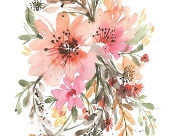 Watercolor Floral/ Boho Chic Wall Decor/ Watercolor decor/ Romantic Wall Art/ Romantic Wall Decor/Gifts for her