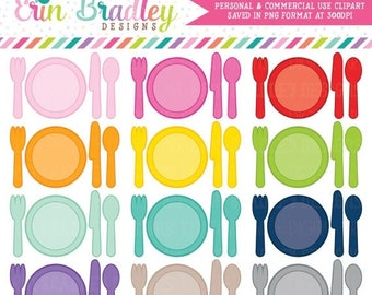 50% OFF SALE Place Setting Clipart Dinner or Meal Planner Clip Art Graphics Personal & Commercial Use OK