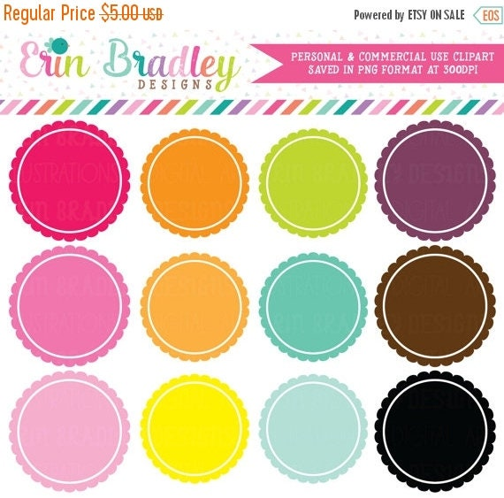 70% OFF SALE Digital Scrapbooking Clipart Clip Art Scalloped Border Circle Frames Personal and Commercial Use