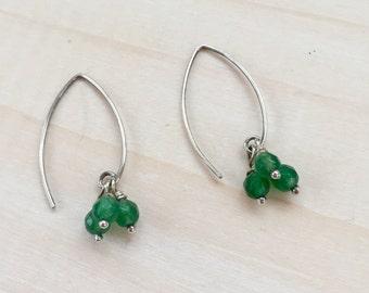 Faceted Green Aventurine Cluster Earrings