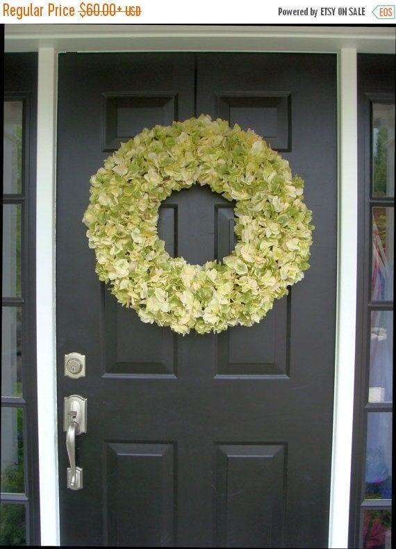 SPRING WREATH SALE Year Round Hydrangea Wreath- Fall Hydrangeas- Door Wreath- Spring Wedding Wreath- Summer Decor