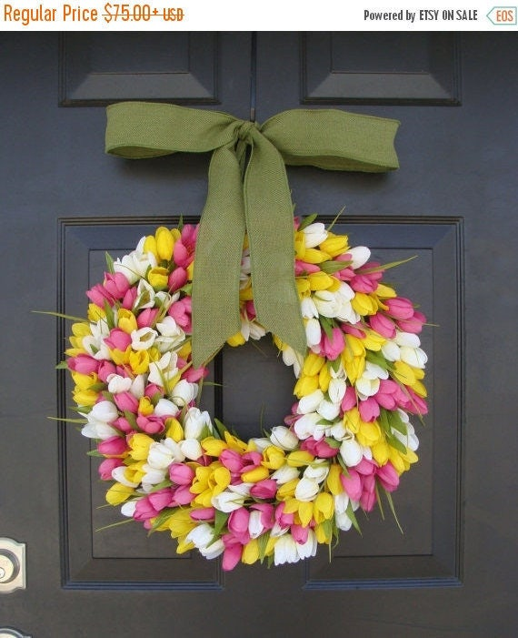 SPRING WREATH SALE Spring Decor- Spring Wreath- Tulip Wreath- Wreath for Door- Door Wreath- Etsy Wreath Custom Sizes