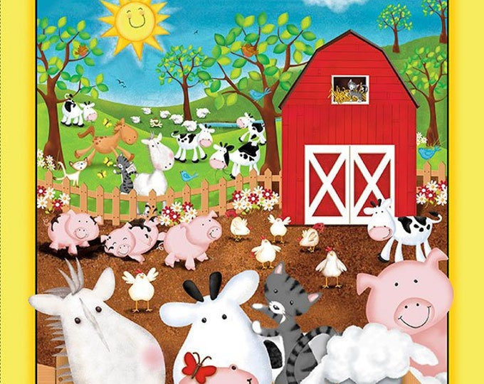 Children's Fabric, Animal Farm Cotton Panel by Victoria Hutto for Quilting Treasures 35 x 44 inches