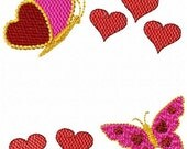 SALE Valentines Butterfly Butterflies Hearts Machine Embroidery Font Frame Design Instant Download Sale