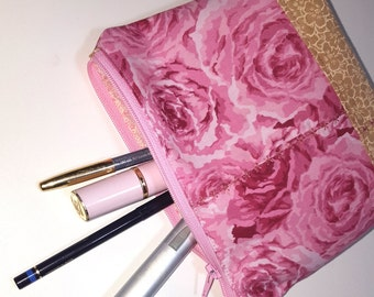Zipper Pouch, pink rose, tan print, gusset bottom carry-all, travel pouch, cosmetics, phone, pouch