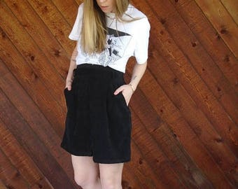 extra 30% off sale . . . 90s Black Microsuede Mini A Line Secretary Skirt - M L Petite