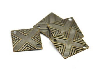 Antqiue Brass Square, 20 Antique Brass Square Stamping Connectors  (13x13mm)  K129