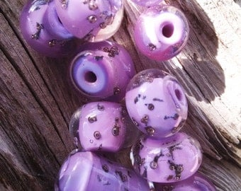 Lavender and Brass Handmade Lampworked Glass Beads