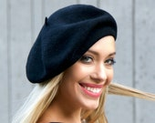 Wool Beret Hat Women Black Wool Beanie Fall Fashion Fall Accessory 1940s Fashion Slouchy Beret Warm Winter Hat Women's Knit Gift For Her
