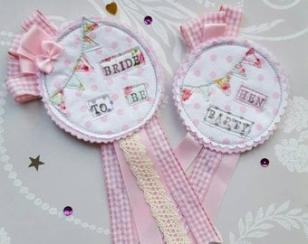 BRIDE TO BE Hen Party Badge Brides Rosette Hen Night Ribbon Rosette Bridesmaid Bridal Shower Gift Vintage Cottage Chic theme Wedding