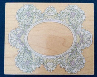 Rubber Stamp Scallop Lace Frame , Wood Mounted Rubber Stamp