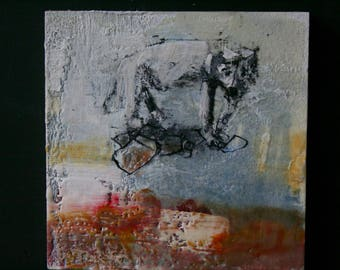 Original Painting Encaustic White Dog Art Work 8 x 8 inches Art By Bobbie Jansen From Modernfigurative on Etsy