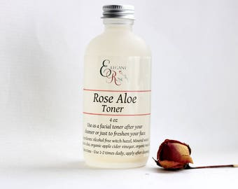 Rose Aloe Facial Toner -  for Normal  or Dry Skin