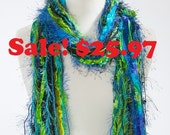Womens Scarves Fringe Scarf - Peacock - Shades of Black, Turquoise, Blue and Lime Green