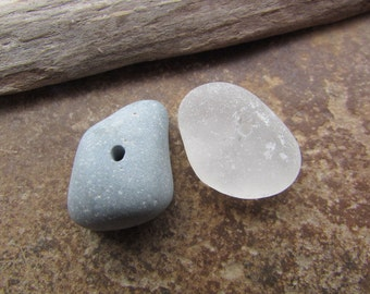 LARGE Blue SLAG Stone BEADS ~ Drilled Beach Glass ~ Lake Stone Beads