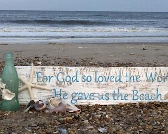 God so loved original exclusive Beach House Dreams™ sign interior design cottage coastal gift John 3 16 housewarming BeachHouseDreamsHomeOBX