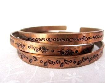 Set of 3 hand stamped flowers bracelets, Hand stamped copper open bracelet