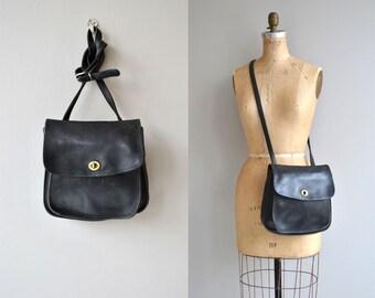 Coach saddle bag | vintage black leather Coach bag | Coach cross body purse