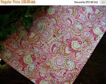 ON SALE Table Runner Bright Paisley Pink Orange Padded