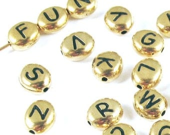TierraCast Pewter Oval Pebble Letter Beads-GOLD ALPHABET (26)