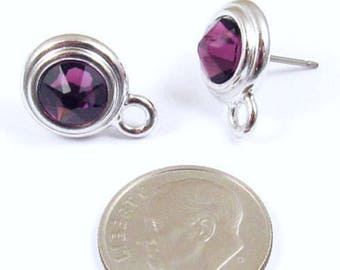 February Swarovski Crystal Birthstone Earring Posts-AMETHYST & SILVER (1 Pair)