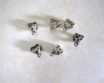 Tibetan Silver Heart Bail - Set of 10 - 12x7mm