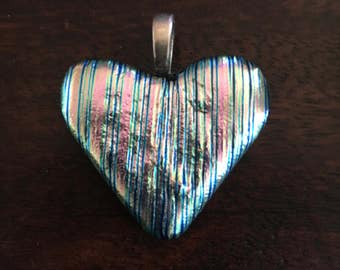 Silver Glass Heart - fused glass jewelry, heart pendant romantic