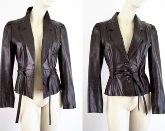 Berman's Oxblood Maroon Woman's Size SMALL Leather Tie Front Retro Jacket