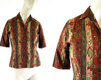 Vintage Earth Tones Orange Brown and Green Short Sleeve Button down Woman's Retro Blouse
