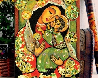 Mary and Jesus religious art icon, madonna and child painting, folk art, mothers love, wall decor, Home Decor, woman art, ACEO woodblock, CG
