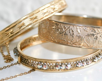Lot of Three Hinged Gold Plated Bracelets