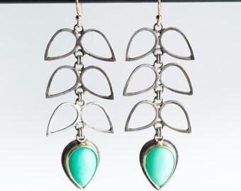 Wisteria Long Earrings w Chrysoprase Gems in 18k Gold, Silver
