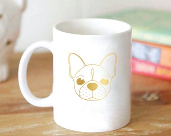 Custom Cute Dog Illustration Foil Mug - Dog Breed Coffee Mug - Foil Dog Mug - Gold or Silver 15 oz