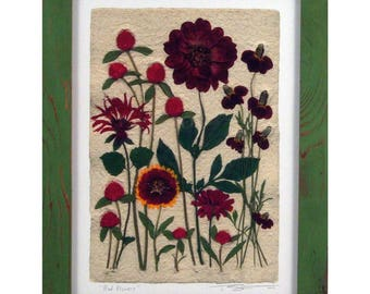Red Flowers with Green Frame