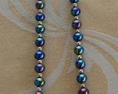 "On sale Pretty Vintage Aurora Borealis Glass, Gold tone Beaded Necklace, 17"" (AB6)"