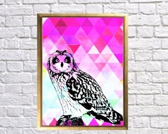 Geometric Owl Print, Bohemian Wall Art, Owl Nature Prints, Hot Pink Owl, Shades of Blue Room decor, Owl poster prints, Bird owl Pop Art