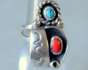 Native American Ring Turquoise Sterling Silver Boho Vintage
