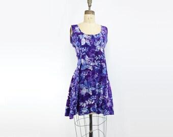 Ethnic Blue Dress Vintage Mini Dress Purple Batik Dress Boho Tie Dye Dress Blue Floral Dress Mini Tank Dress Purple Tribal Dress s